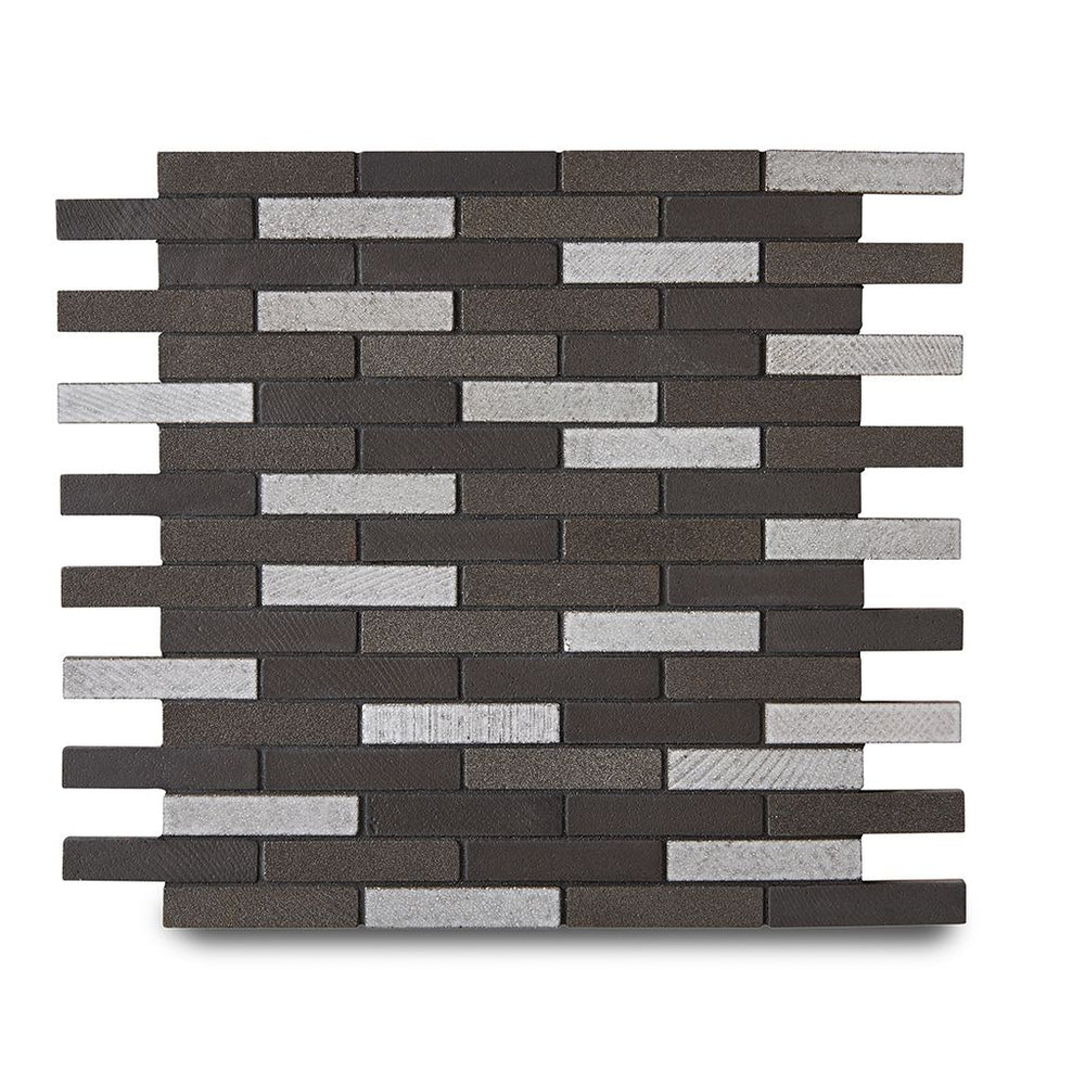 "Waterworks Magma Brick 1/2"" x 2 3/4"" Mosaic in Java Matte Crackle"