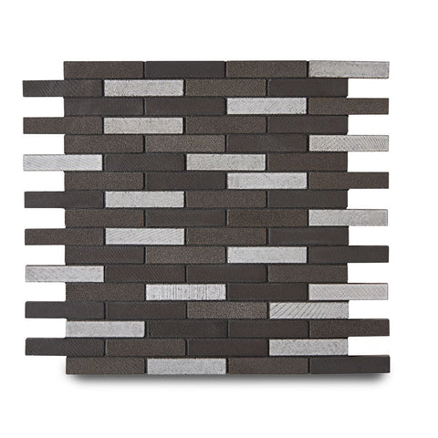 "Magma Brick 1/2"" x 2 3/4"" Mosaic in Java Matte Crackle"