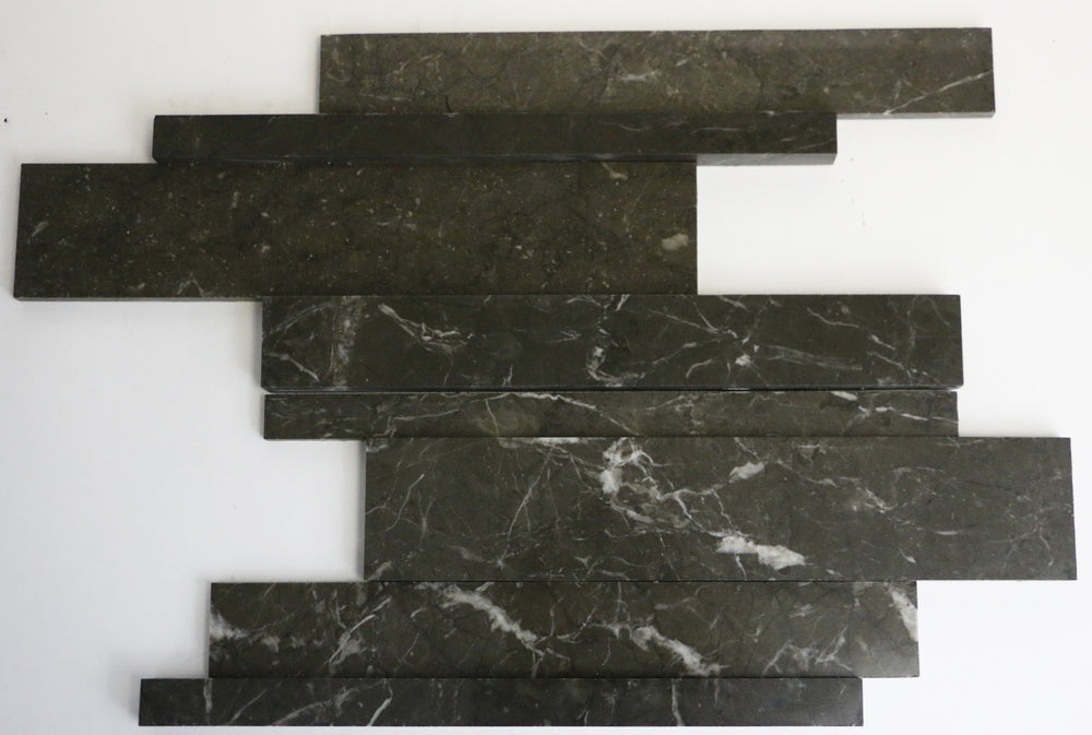 Marble Mosaic Tile in Dark Olive Green