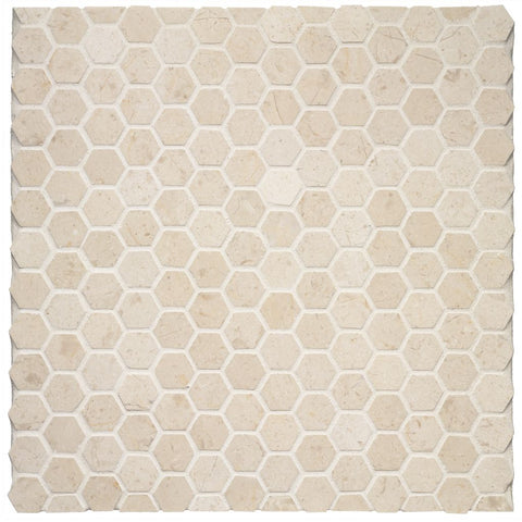 Waterworks Keystone 2.5cm Hexagon Mosaic in Comet Honed