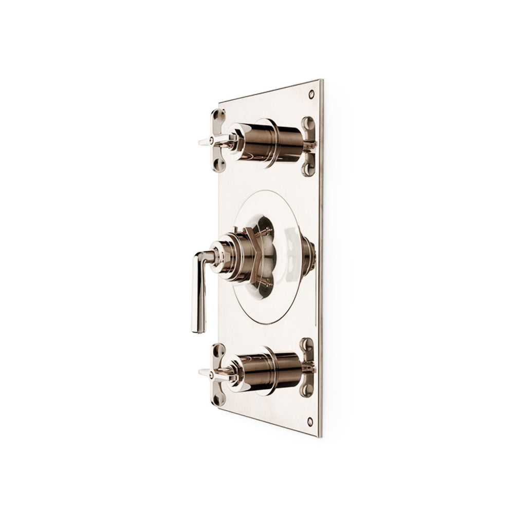 Waterworks Henry Metal Lever Handle Thermostatic with Shutoffs Trim in Matte Nickel