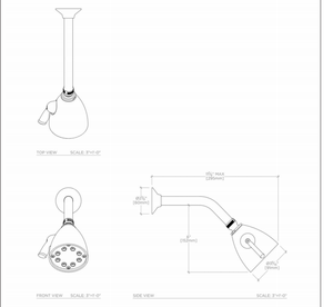 Universal Shower Head, Arm and Flange in Carbon