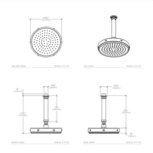 "RW Atlas 8 1/2"" Ceiling Mounted Shower Head, Arm and Flange in Nickel"