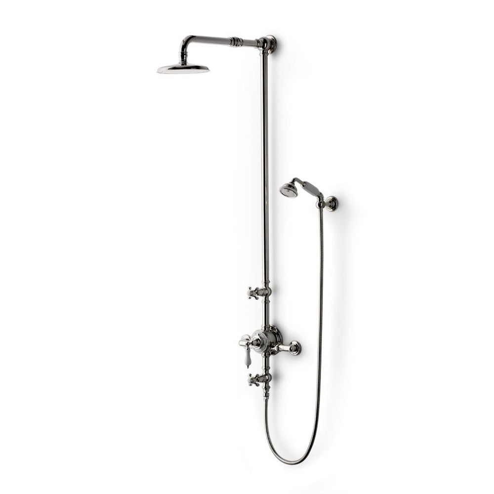"Waterworks Etoile Exposed Thermostatic System with 8"" Shower Rose in Antique Brass"