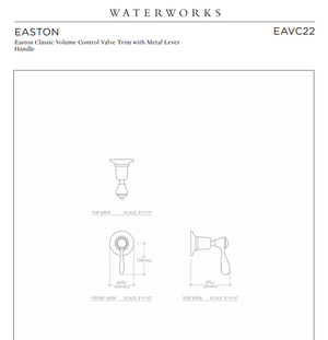 Waterworks Easton Classic Volume Control Valve Trim in Architectural Bronze