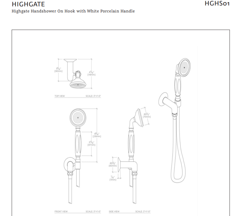 Waterworks Highgate Handshower on Hook with White Porcelain Handle in Nickel