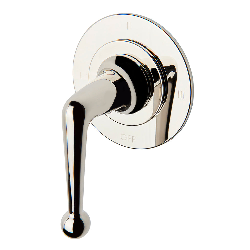 Waterworks Dash Three Way Thermostatic Diverter Valve Trim with Roman Numerals and Metal Lever Handle in Burnished Brass