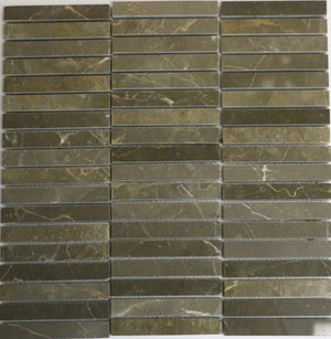 Marble Stacked Mosaic Tile in Olive Green