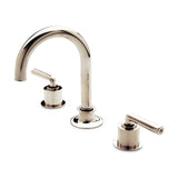 Henry Gooseneck Three Hole Deck Mounted Lavatory Faucet with Metal Lever Handles in Antique Brass
