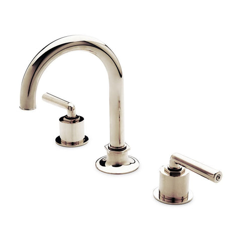 Henry Gooseneck Three Hole Deck Mounted Lavatory Faucet with Metal Lever Handles in Vintage Brass