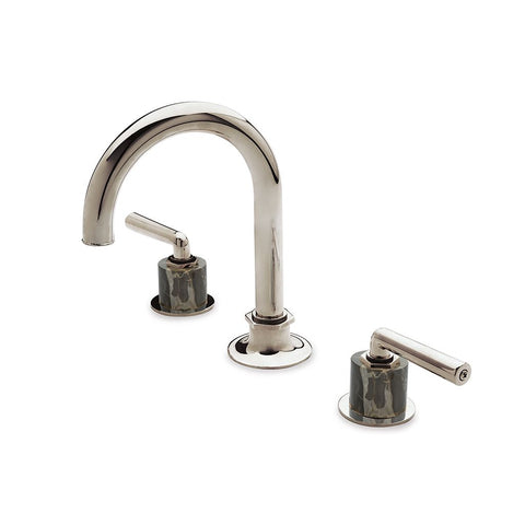 Waterworks Henry Bathroom Faucet with Portoro Lever Handles in Unlacquered Brass