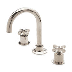 Waterworks Henry Gooseneck Three Hole Deck Mounted Lavatory Faucet with Metal Cross Handles in Burnished Brass