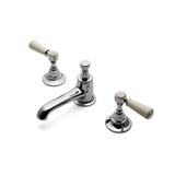 Highgate Deck Mounted Bathroom Faucet with Black Porcelain Lever Handles in Chrome