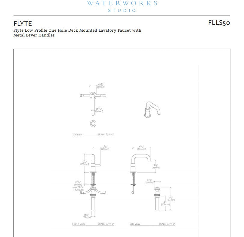 Waterworks Flyte Low Profile Lavatory Faucet in Aged Brass