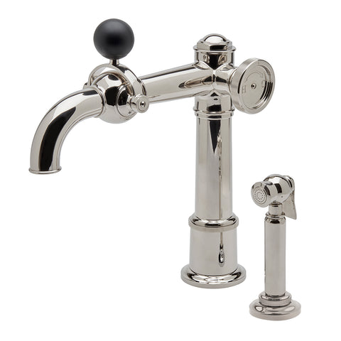 On Tap One Hole High Profile Kitchen Faucet with Metal Wheel, Black Ball Handle and Spray in Matte Nickel