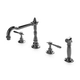 Julia Three Hole High Profile Kitchen Faucet, Metal Lever Handles and Spray in Brushed Nickel