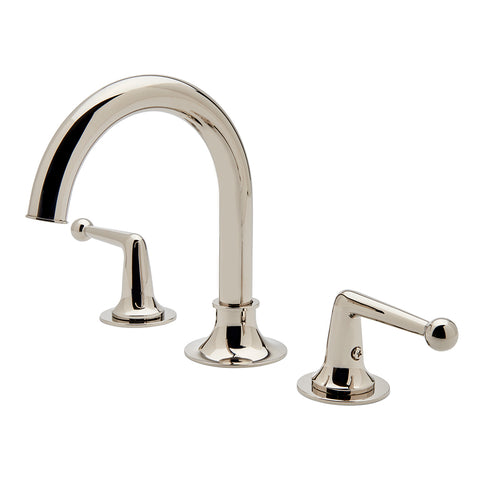 Dash Gooseneck Three Hole Deck Mounted Lavatory Faucet with Metal Lever Handles in Sovereign