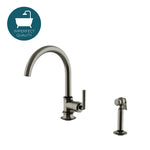 Waterworks Henry Gooseneck Kitchen Faucet with Spray in Pewter