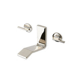 Formwork Low Profile Three Hole Wall Mounted Lavatory Faucet with Metal Lever Handles in Brushed Nickel