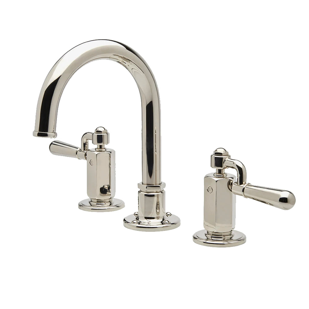 Waterworks Regulator Gooseneck Three Hole Deck Mounted Lavatory Faucet with Metal Lever Handles in Carbon