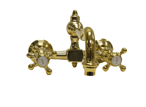 Julia Wall Mounted Kitchen Faucet with Metal Cross Handles in Unlacquered Brass