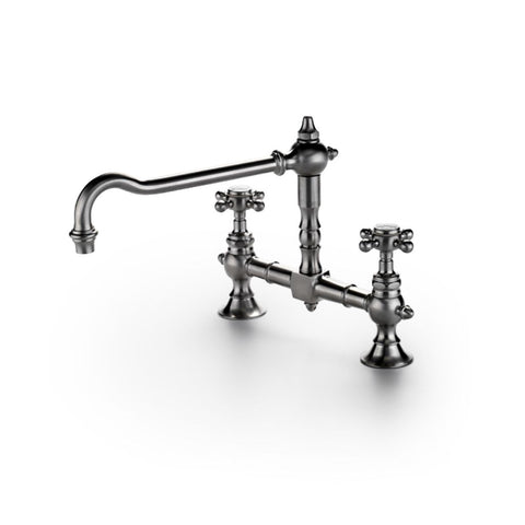 Waterworks Julia Two Hole Bridge High Profile Kitchen Faucet, Metal Cross Handles in Unlacquered Brass