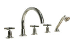 Waterworks Boulevard Gooseneck Tub Filler with Handshower and Diverter in Nickel