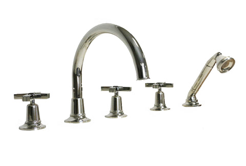Waterworks Boulevard Gooseneck Tub Faucet with Handshower and Diverter in Nickel