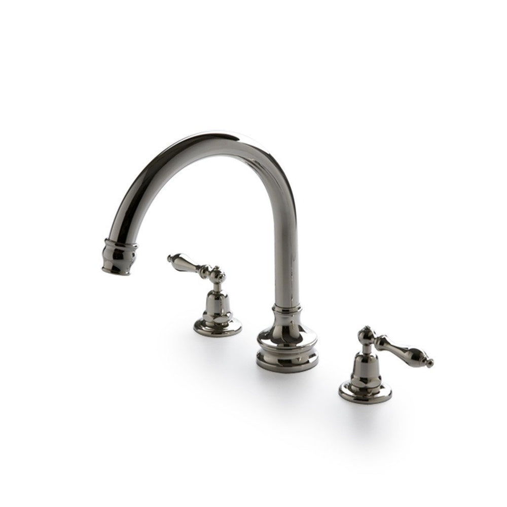 Waterworks Etoile Gooseneck Concealed Tub Filler With Metal Lever Handles in Nickel