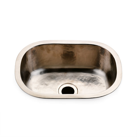 "Normandy 15 3/4"" x 11 13/16"" x 5 7/16"" Hammered Copper Oval Bar Sink with Center Drain in Matte Nickel"