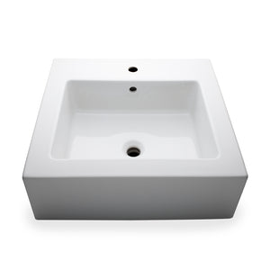 "Waterworks Larsen Rectangular Porcelain Lavatory Sink (3 Hole) Double Glazed 23 5/8"" x 18 1/2"" x 6"" in White For Sale Online"