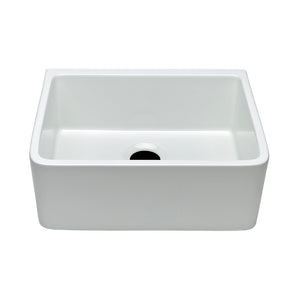 "Waterworks Clayburn 23 3/8"" x 18 1/4"" x 8 7/8"" Fireclay Apron Farmhouse Kitchen Sink with Rear Drain in White For Sale Online"