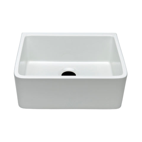 "Clayburn 23 3/8"" x 18 1/4"" x 8 7/8"" Fireclay Apron Farmhouse Kitchen Sink with Rear Drain in White"