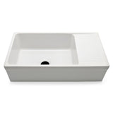 "Clayburn 35 1/2"" x 19 3/4"" x 10"" Fireclay Farmhouse Apron Kitchen Sink with Center Drain and Drainboard in White"