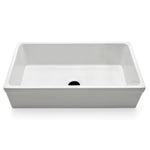 "Clayburn 35 1/2"" x 19 3/4"" x 10"" Fireclay Farmhouse Apron Kitchen Sink with Center Drain in White"