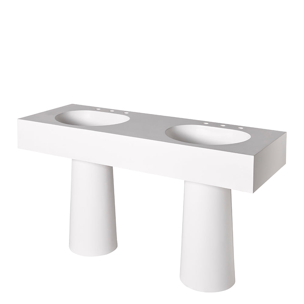 "Formwork Lithic  Double Pedestal Sink for Three Hole Faucets 62"" x 22 1/2"" x 34"" in Matte White"
