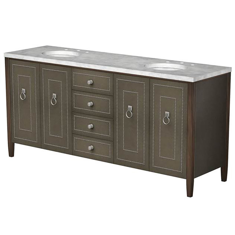 "Gryphon Double Vanity in Saddle Leather with Walnut Frame 72"" x 21"" x 33 3/4"""
