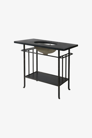 Waterworks Dayton Metal Four Leg Washstand in Gunmetal