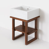 Waterworks Larsen Single Wood Console in Walnut with Porcelain Sink