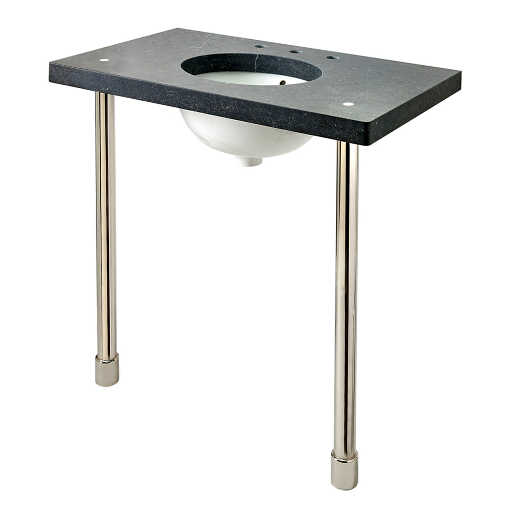 Waterworks Opus Metal Round Two Leg Washstand Legs in Matte Nickel