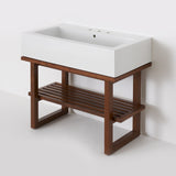 Waterworks Larsen Single Wood Four Leg Console in Walnut with Porcelain Sink