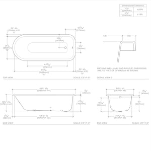 "Waterworks Saxby 70"" x 30"" x 19"" Drop In Oval Cast Iron Bathtub without Feet in Primed"