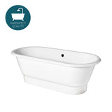 Waterworks Santry Freestanding Cast Iron Oval Bathtub in White