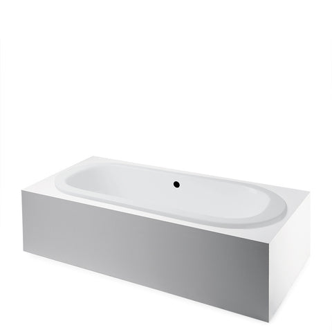 Waterworks Cast Iron Oval Freestanding Bathtub with Center Drain in White