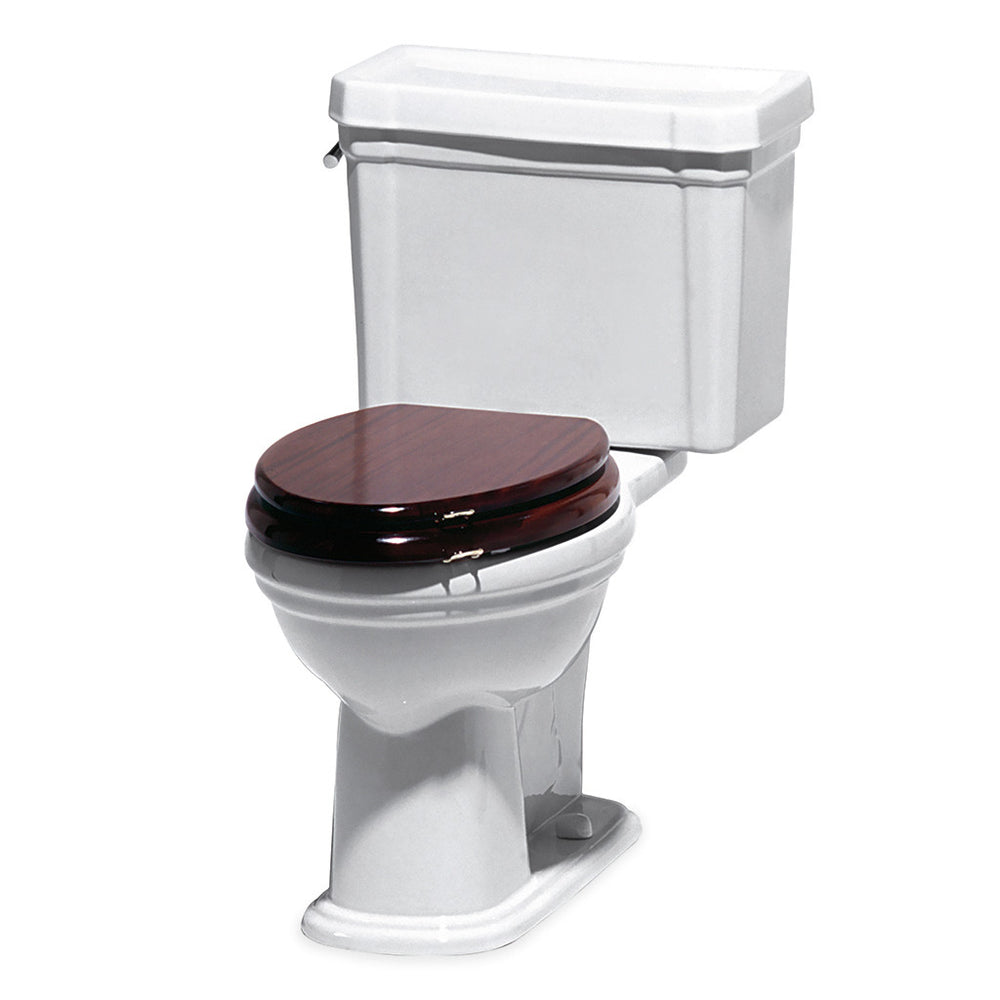 Waterworks Universal High Gloss Elongated Watercloset Seat in Mahogany with Chrome Hardware