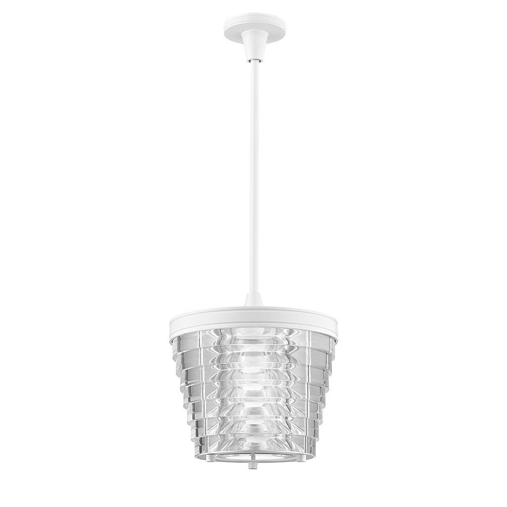 Signal Ceiling Mounted Small Pendant with Acrylic Shade in White