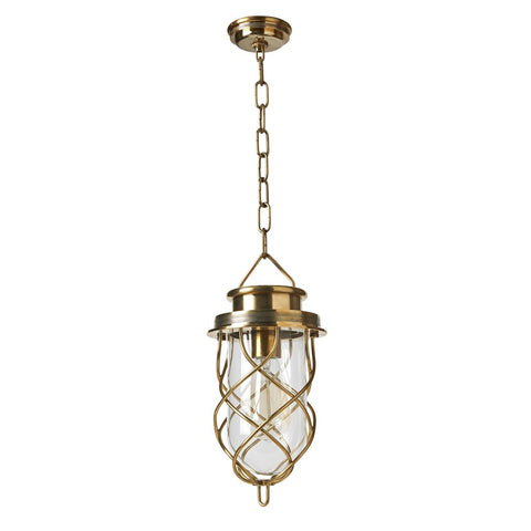 Waterworks Compass Small Pendant in Unlacquered Brass