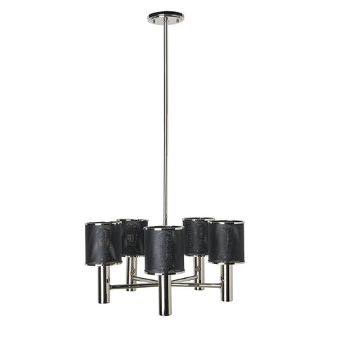 Montecito Ceiling Mounted Chandelier with Perforated Shades in Nickel