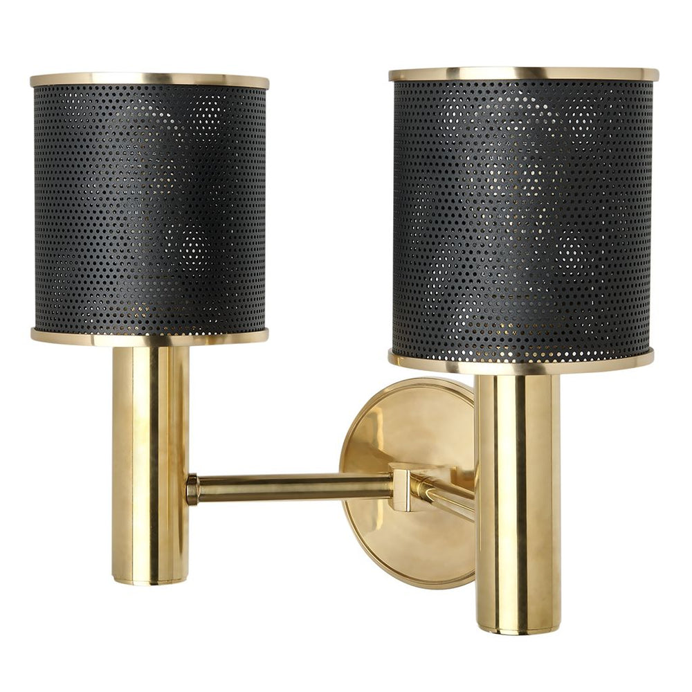 Waterworks Montecito Wall Mounted Double Arm Sconce in Unlacquered Brass
