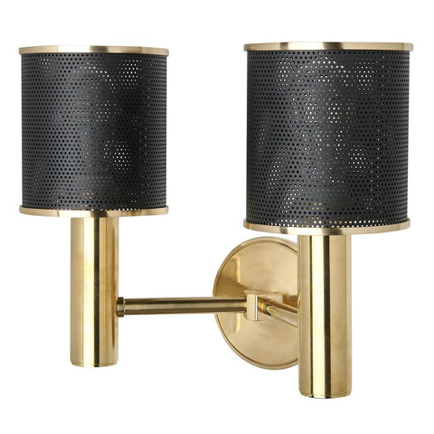 Montecito Wall Mounted Double Arm Sconce in Unlacquered Brass